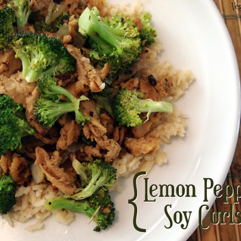 Good-God Lemon Pepper Soy Curls with Broccoli
