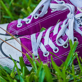 Purple Converse by Luke Albright - Artistic Objects Clothing & Accessories ( outdoor, grass, person, socks, converse, shoes, foot )