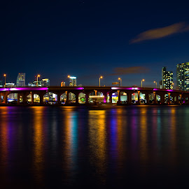 Downtown Miami by Aaron Whitaker - Uncategorized All Uncategorized ( skyline, florida, colors, miami, night )
