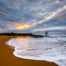 Will Rain Will It Shine by Peter de Groot - Landscapes Beaches ( pdgpix, pool, durban, south africa, rock, beach, sunrise, tidal, salt )