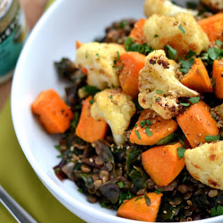 Middle-Eastern Lentils with Roasted Cauliflower, Sweet Potatoes & Dukkah