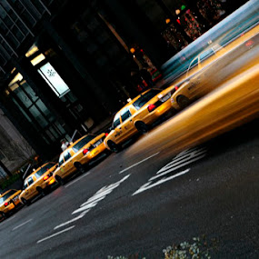 nyc cab by Paolo Tangari - Transportation Automobiles ( cab, taxi, cars, yellow, new york, motion )