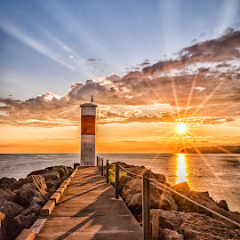 A New Day by Kevin Tubiolo - Landscapes Sunsets & Sunrises ( lake ontario, new york summer morning, sunrays, pier, sunrise )