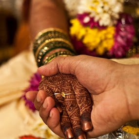Will be with you forever  by Sudheer Hegde - Wedding Bride & Groom ( wedding ring, orange, green, wedding, silver, india, marriage, bride, groom )