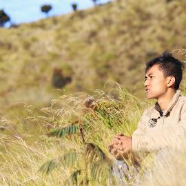 Men and Green grass  by Dblh Balderdash - Landscapes Forests ( mountain, mount, nature, grass, men, landscape, green grass )