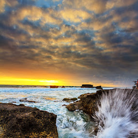 Splash! by Satrya Prabawa - Landscapes Beaches ( canon, water, bali, kintamani, 7d, waves, long exposure, beach, rocks, sun )