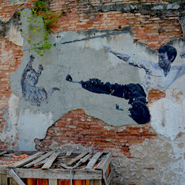 Bruce by Dean Moriarty - City,  Street & Park  Street Scenes ( old, kung fu, bruce lee, decaying, wall,  )