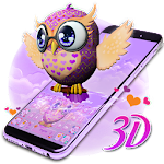 3D Animated Cute Owl Keyboard Theme Icon