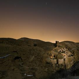 Mar Saba at night by Maria Yudin - Landscapes Travel ( desert, night photography, monastery, holy, night, landscape, nightscape )