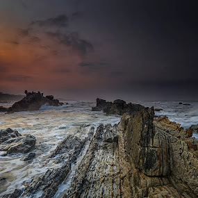 Sawarna Rock by Agung Hendramawan - Landscapes Waterscapes ( #nikonphotography, #sunrise, #landscape, #beach )