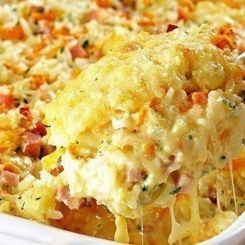 Casserole Of Rice, Ham And Cheese