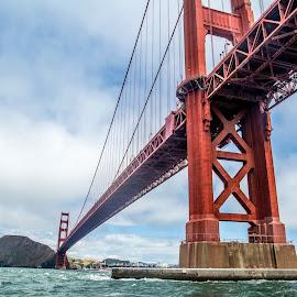 Golden Gate Bridge by T Sco - Buildings & Architecture Bridges & Suspended Structures ( water, park, land, golden gate, bridge, landscape, boat )