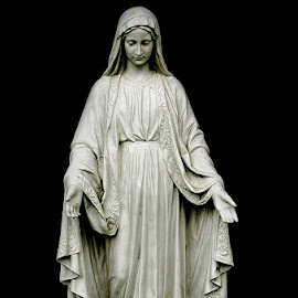 The Virgin Mary by Calvin Morgan - Buildings & Architecture Statues & Monuments ( statue, low key, memorial day, the virgin mary, cemetery, monument, architecture, nikon d7000 )