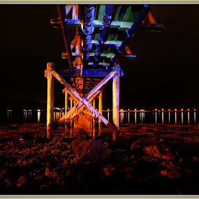 under oilbridge by Benny Høynes - Buildings & Architecture Bridges & Suspended Structures ( wood, night, bridge, evening, sortland )