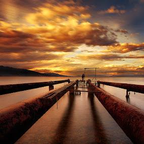 Sunset at Pogradec by Χρήστος Λαμπριανίδης - Landscapes Waterscapes