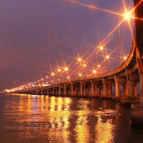 Penang Bridge by Nasaruddin Naseh - Landscapes Waterscapes