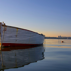 just a boat by Mislav Glibota - Landscapes Waterscapes ( blue, color, white, split, dalmatia, boat )