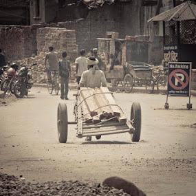 Nepalgunj cart pullers by Satyam Joshi - Transportation Other ( pokhara, kathmandu, nepalgunj, poor, cart, nepal, china )