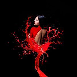Bathed In Red by Kyle Re - Digital Art People ( photoshop art, model, fashion, splash, one, sensuality, vibrant, beauty, make-up, caucasian, glamour, sexy, girl, woman, attractive, hair, black, photoshop, elegance, beautiful, back, women, young, posing, manipulation, sensual, red, female, elegant, dress )