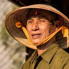 Vietnamese Gentleman by Amanda Ellis - People Street & Candids ( old aged, vietnamese, shy, elderly, gentleman, hat )