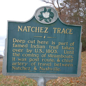 Deep cut here is part of famed Indian trail taken over by U.S., 1803. Until the coming of steamboats, it was post route, & chief artery of travel between Natchez & Nashville.
