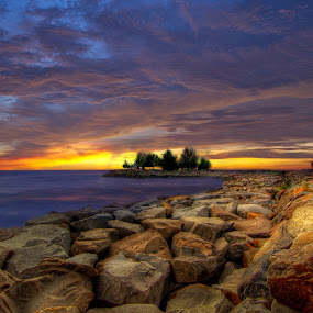 Stone beach by Mohamad Sa'at Haji Mokim - Digital Art Places ( hdr, sunset, stone, landscape, digital )