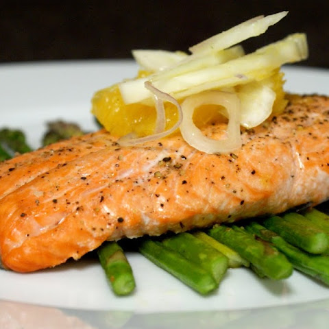 Salmon with Fennel Orange Slaw and Sautéed Asparagus