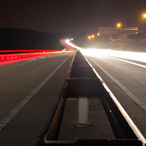 Middle of the highway by Mohd Hisyam Saleh - Landscapes Travel ( car, night, lightrail, landscape, light )