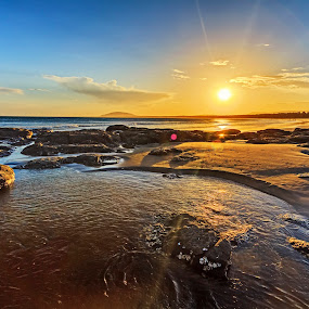 Crooked River Sunset by Andy Hutchinson - Landscapes Beaches ( sand, sunset, australia, summer, sunshine, beach, landscape, coatal, coast, river )