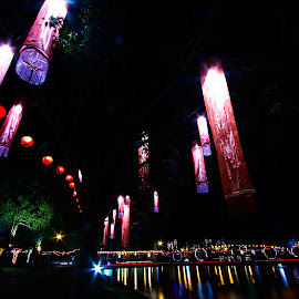 Lunar New Year Deco by Steven De Siow - City,  Street & Park  Night ( lunar new year, park, night, city park, nightscape )
