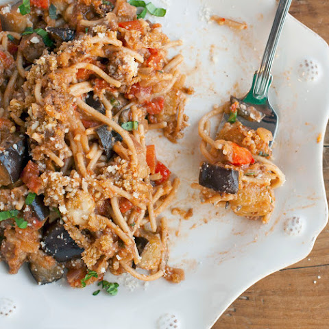 Spicy Baked Eggplant Spaghetti
