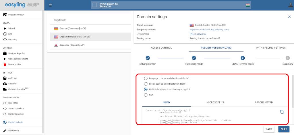 Domain Setting Easyling