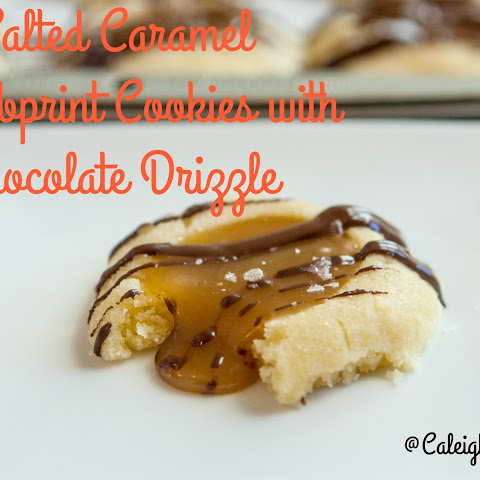 Salted Caramel Thumbprints with Chocolate Drizzle