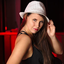 Jenni by Simo Järvinen - People Portraits of Women ( person, model, indoor, female, woman, lady, people, portrait, hat )