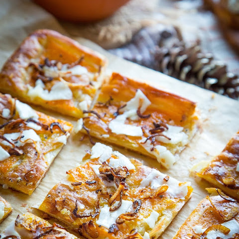 Butternut Squash and Pecorino Tart with Crispy Shallots