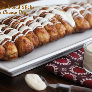 Pull Apart Cinnamon-Sugar Bread Sticks With Cream Cheese Dip