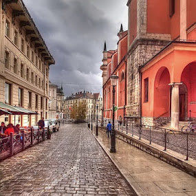 Emona by Branislav Rupar - City,  Street & Park  Street Scenes ( paving stone, hdr, church, e-620, ljubljana, pub, olympus, city, pavement, the square )