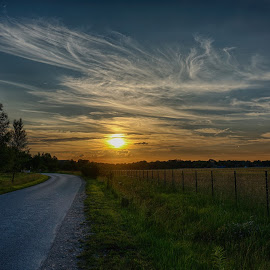 Sunset by Yuriy Podoba - Landscapes Sunsets & Sunrises ( field, clouds, sky, hdr, road )