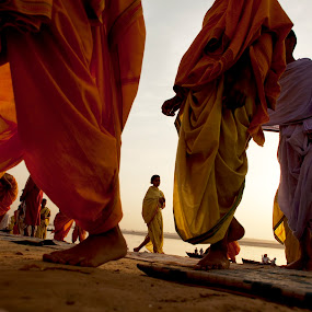 Varanasi India Sunrise by Brent Foster - People Street & Candids ( monks, varanasi, india, travel, sunrise )