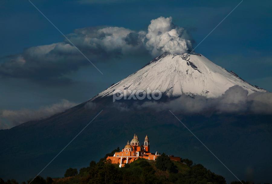 snowy volcano  by Cristobal Garciaferro Rubio - Landscapes Mountains & Hills ( dramatic landscapes, cholula, volcano, church, smoking, mexico, puebla, popocatepetl, smoking volcano )