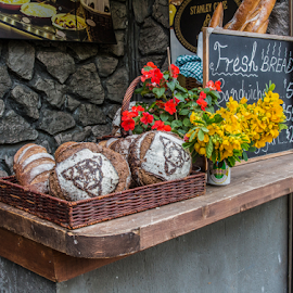 fresh bread by Vibeke Friis - Food & Drink Cooking & Baking ( sign, freshm flowers, bread )