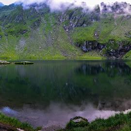 Balea Lake - Transfagarasan road- ROMANIA by Bogdan Claudiu - Landscapes Weather ( water, mountain, green, romania, lake, landscape )
