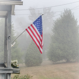 Foggy flag by Brian Butters - Landscapes Weather ( flag, fog, colors, summer, new york, usa )