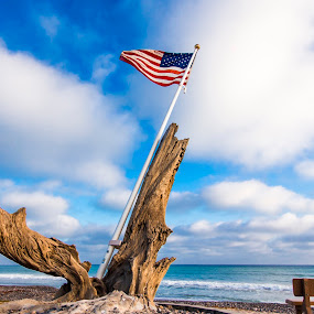 American Flag by Scott Welch - Artistic Objects Other Objects ( san clemente, flag, american, american flag, ocean, beach, poche beach )