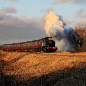 Sunset Steam by Corin Spinks - Transportation Trains ( warwickshire, gloucestershire, railway, steam railway, sunset, locomotive, train, smoke, steam,  )