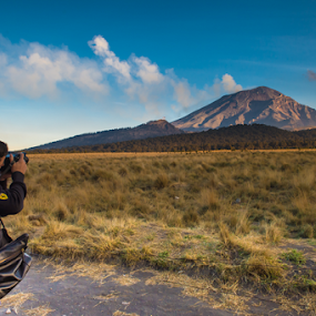 Photographer and volcano by Cristobal Garciaferro Rubio - People Portraits of Men ( popo, popocatepetl, boy )