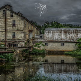 Old mill by Izzy Kapetanovic - Buildings & Architecture Decaying & Abandoned ( mill, urbex, sky, waterside woolen mill, pa, creek, weather, b uilding, architecture, storm, decay, abandoned )
