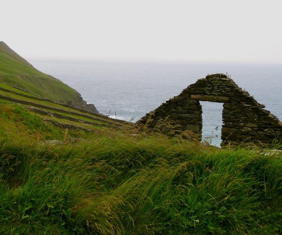 Ruins by Seamus Crowley - Landscapes Travel ( ireland, grass, fog, green, ruin, sea, ocean, rock, overcast )