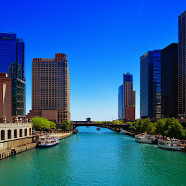 Chicago River to Lake Michigan by Tricia Scott - City,  Street & Park  Street Scenes ( lake, bridge, architecture, chicago, city, river )