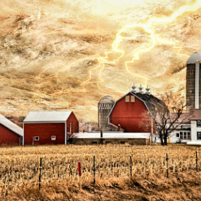 Your Only Limited By Your Imagination by Michael Priest - Digital Art Places ( field, farm, fantasy, fence, wisconsin, lightning, red, tree, barn, art, house, storm, corn )